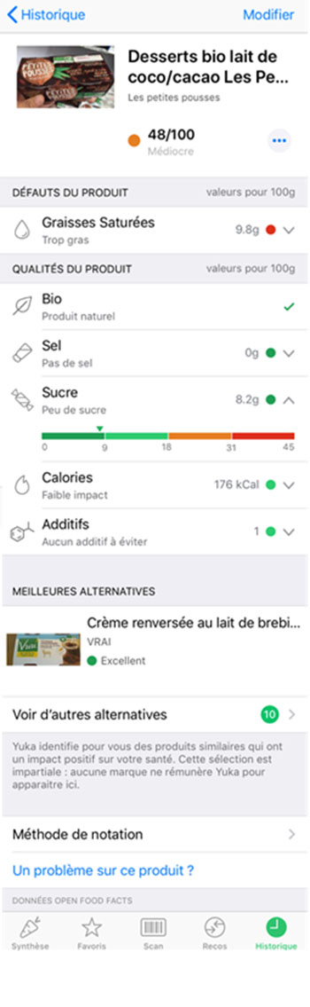 Application Yuka - Alternative produit
