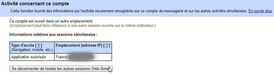 Comment se déconnecter à distance de la messagerie Gmail