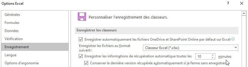 Excel - Option enregistrement automatique et récupération