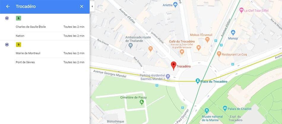 Horaires des transports en commun dans Google Maps