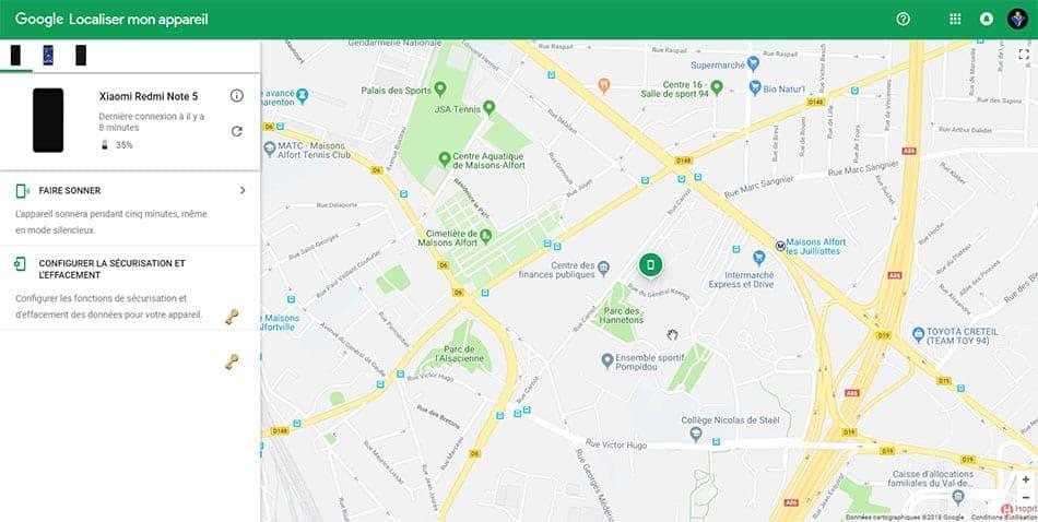 Google - Localiser mon appareil - Interface