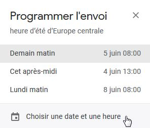 Messagerie Gmail - Programmer l'envoi