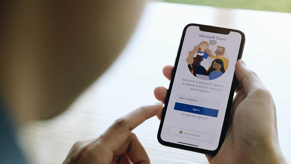 Microsoft Teams sur smartphone