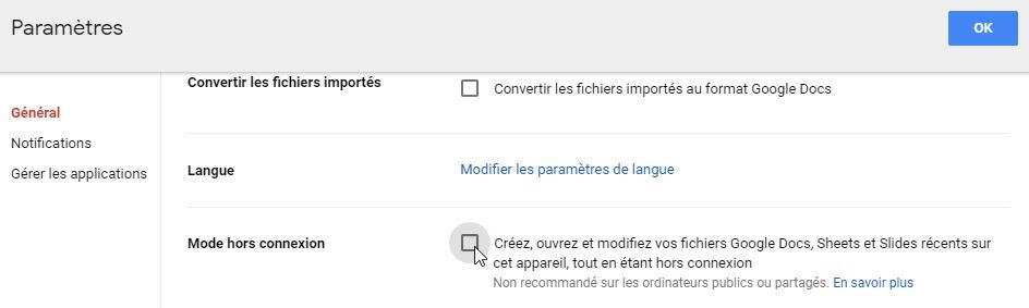 Mode hors connexion Google Drive
