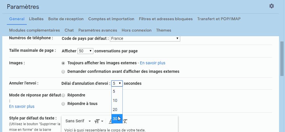 Annuler un mail Gmail - Paramètres