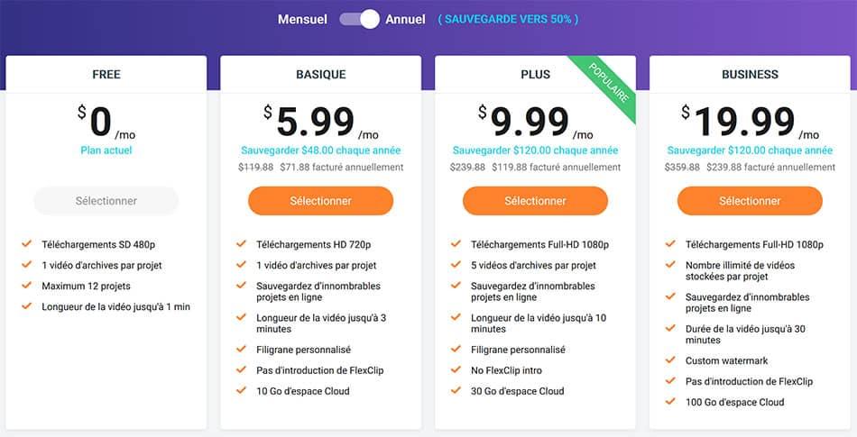 prix abonnement Flexclip