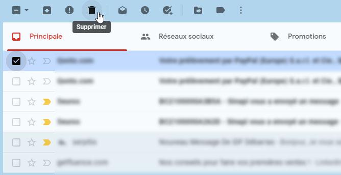 Supprimer un message dans Gmail