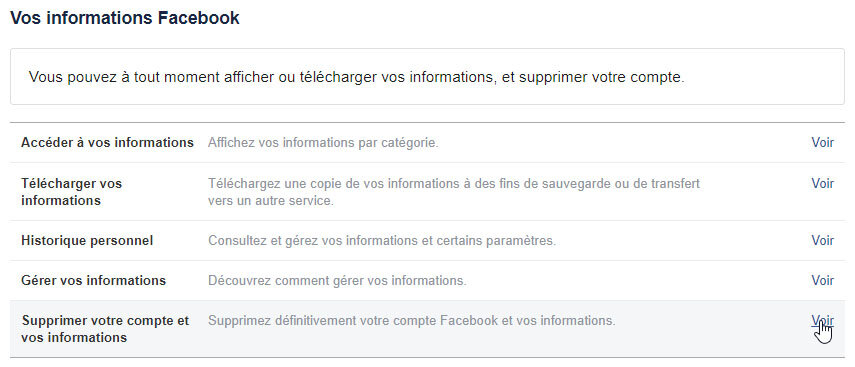 Etapes pour supprimer un compte Facebook